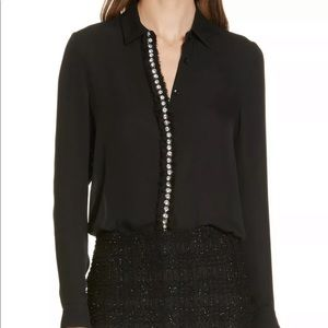 Alice + Olivia Willa Embellished Silk Blouse